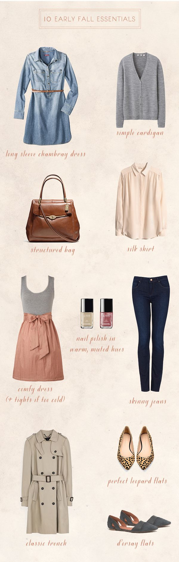 10 Early Fall Essentials - I love this! And I have several of these in my capsule wardrobe.