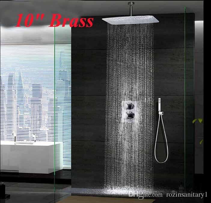 Wholesale cheap shower faucet online, new   - Find best  new chrome 10 ceiling mounted rainfall shower head thermostatic mixer 2 handles at discount prices from Chinese bathroom shower sets supplier - rozinsanitary1 on DHgate.com.