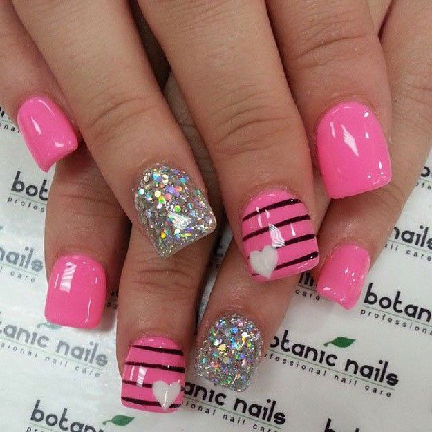 Nail Art Ideas With Glitter & Hearts, check it out at http://makeuptutorials.com/nail-art-ideas-for-valentines-day