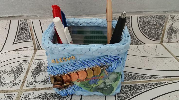 Reciclaje, suport creioane cu bani si paste  - Recycling, support crayon...