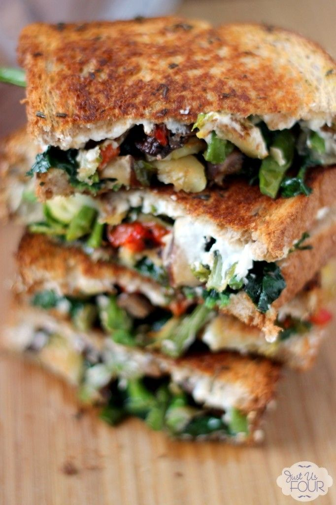 My quest to eat healthier doesn't mean I can't have yummy food. A roasted vegetable grilled cheese is the perfect mix of cheese, veggies and low cal bread.