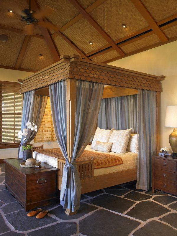 dormitorio romántico dosel cortinas azules marco interior cama con dosel de madera tropical dormitorio