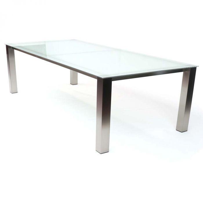 Glas Op Maat Tafelblad.Een Hele Mooie Rvs Eettafel Met Een Glazen Tafelblad