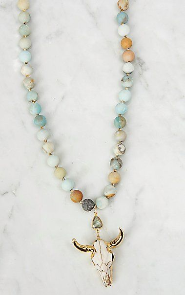 Kori Green Large Amazonite Beads with Bone and a Gold Skull Necklace | Cavender's