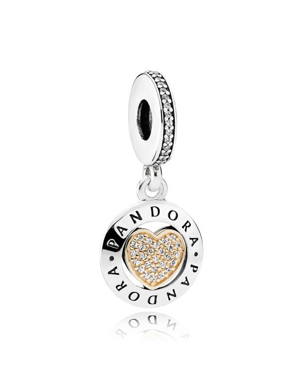 Pandora Charm - Sterling Silver, 14K Gold & Crystal Signature Heart