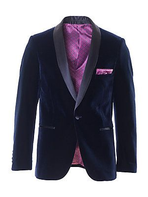 Paisley and Gray Slim-Tailored Velvet Suit Jacket