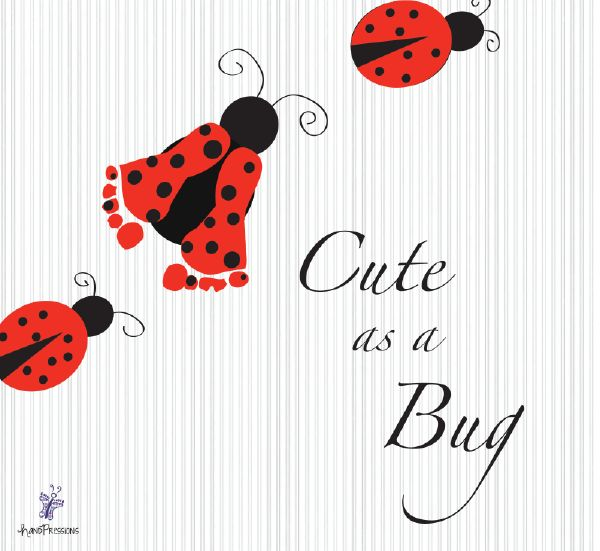 Cute as a bug Ladybug footprint wall art. Made possible with your child's own footprints and Handpressions! http://www.handpressions.com/