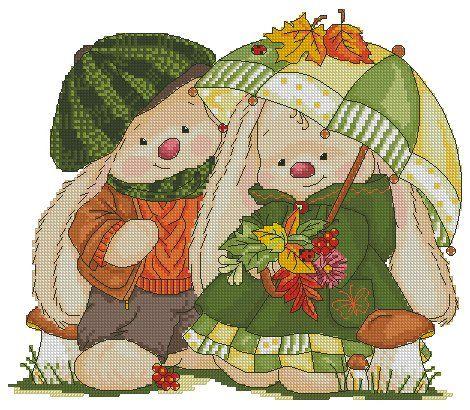 """Вот и осень... Серия """"Сезоны. Счастливые зайцы"""" 140 на 110 крестиков, 33 цвета."""