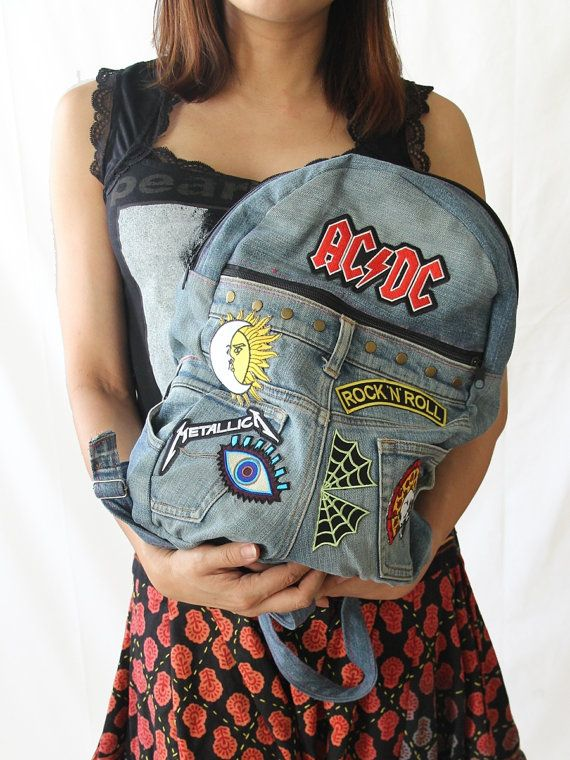Upcycled Handmade DIY Denim Jeans Backpack by MetalgirlCrafts