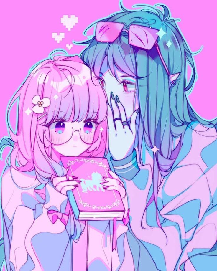 anime pink cute girl and boy pastel art aesthetic 🍑alma