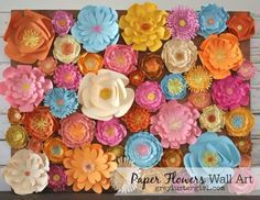DIY Wall Art Ideas and Do It Yourself Wall Decor for Living Room, Bedroom, Bathroom, Teen Rooms |   DIY Paper Flowers Wall Art  | Cheap Ideas for Those On A Budget. Paint Awesome Hanging Pictures With These Easy Step By Step Tutorials and Projects  |  http://diyjoy.com/diy-wall-art-decor-ideas