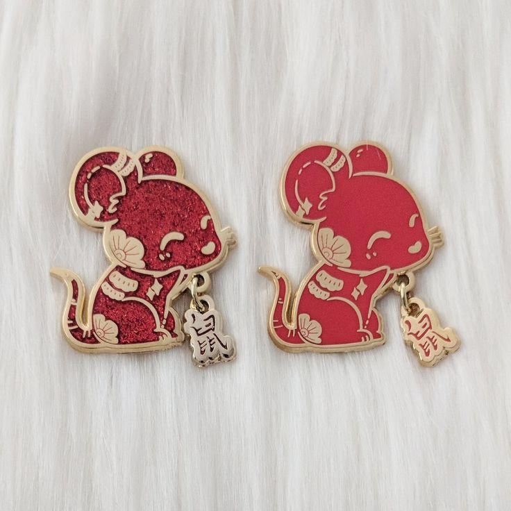 """Rat """"鼠"""" Zodiac Pin Series Matte red, Rats, Zodiac"""
