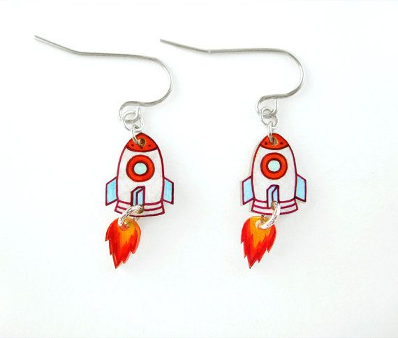Rocket Shrink Plastic Dangle Earrings by DOODLEWORM on Etsy