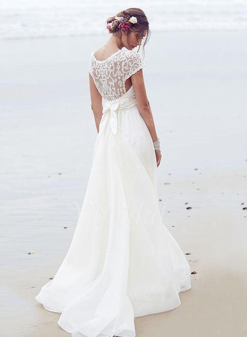 Wedding Dresses - $155.16 - A-Line/Princess Scoop Neck Court Train Chiffon Wedding Dress With Ruffle Sequins Bow(s) (0025100082)
