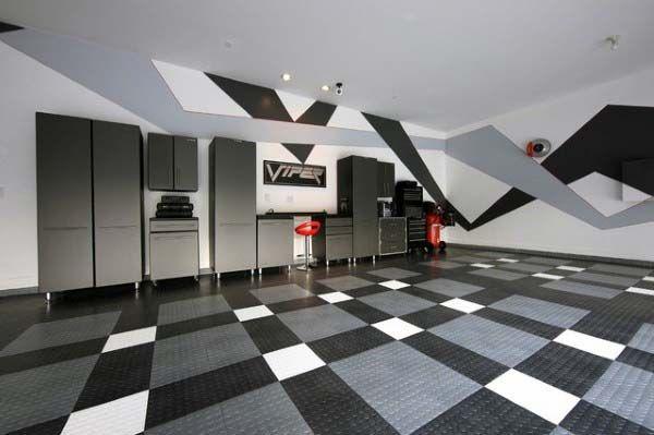 Rubber Garage Flooring Black Grey And White Design