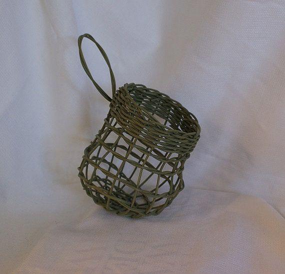 Hanging Shaker onion basket  green basket by RusticBucketsSouth
