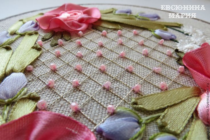 Купить Розовый венок. Вышивка лентами - розы, Вышивка лентами, венок из цветов, картина лентами