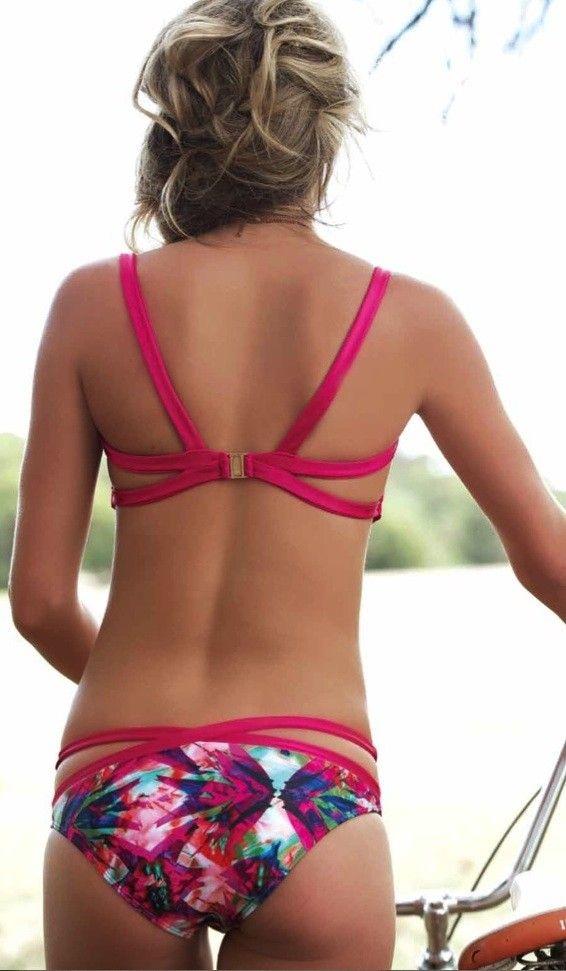 Strappy Pink Floral Bikini