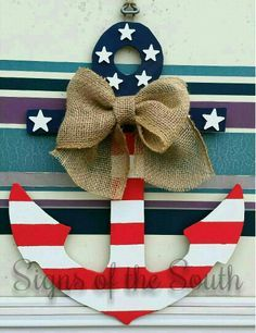Patriotic anchor door hanger made by Signs of the South.