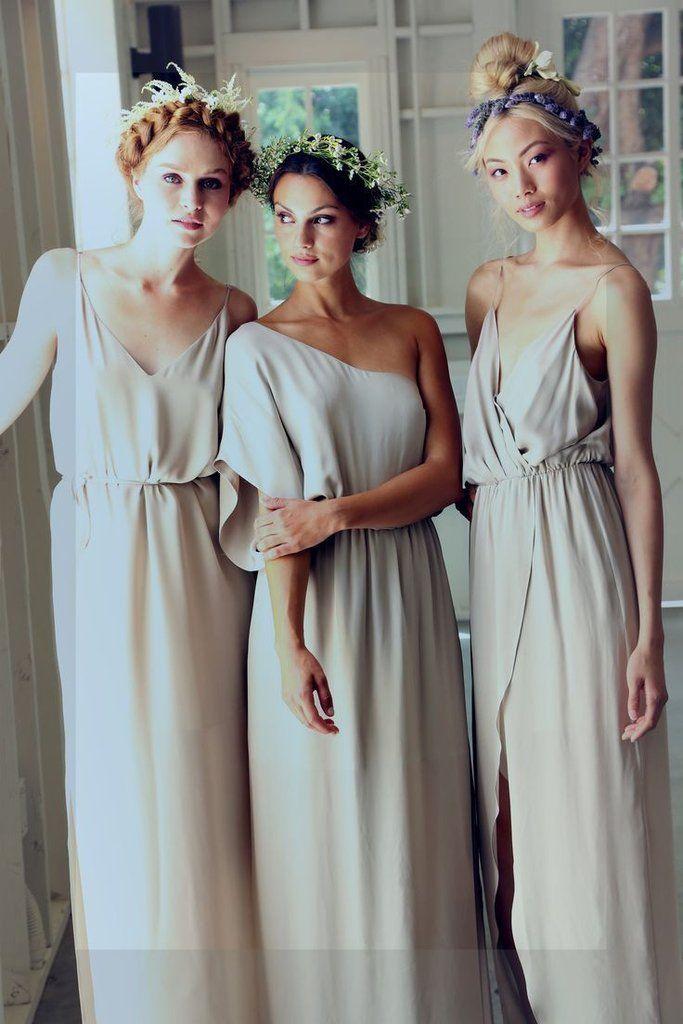 Simple Elegant Mismatched Different Styles Formal A Line Cheap Long Bridesmaid Dresses, BG0120
