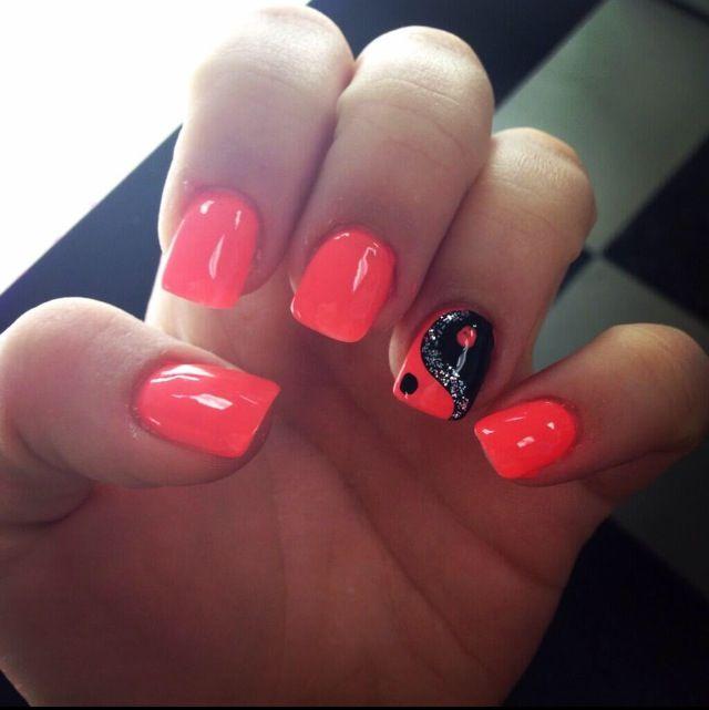 Acrylic nails - pink and black Yin & Yang symbol.