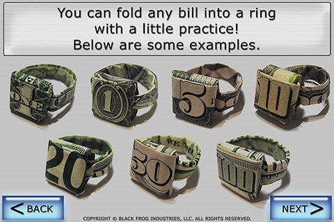 Folding Bills into Rings-cute idea for a gift of cash!
