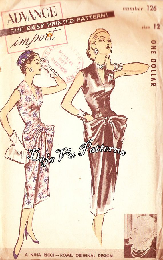 Advance 126 Vintage 1950s Nina Ricci Designer by DejaVuPatterns, $195.00