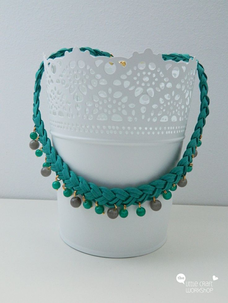 Handmade necklace - suede leather, beads