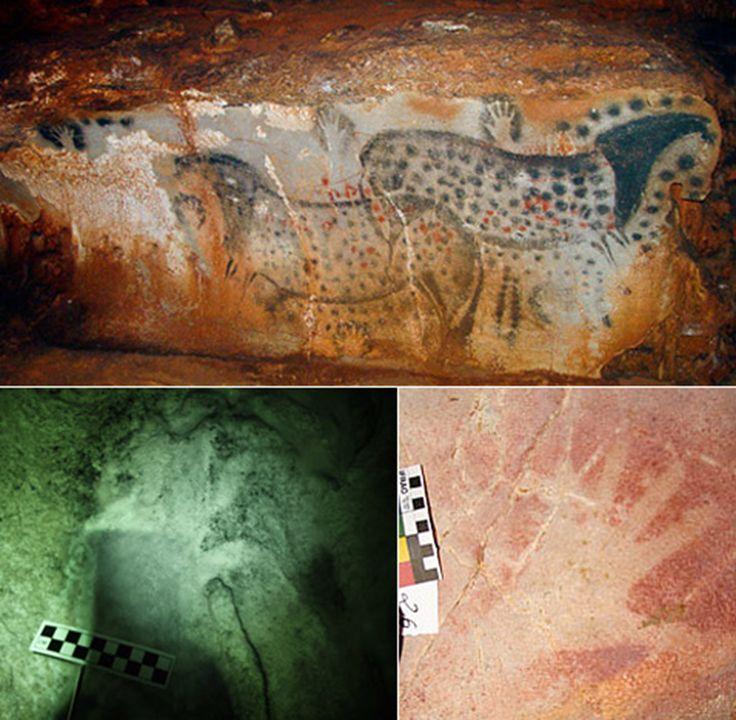 Отпечатки рук доисторических творцов в пещере Ласко. Дин Сноу, археолог из  университета Пенсильвании, тщательно изучил отпечатки  ладоней, оставленных древними живописцами, как оказалось, отпечатки рук доисторических творцов  оказались женскими.