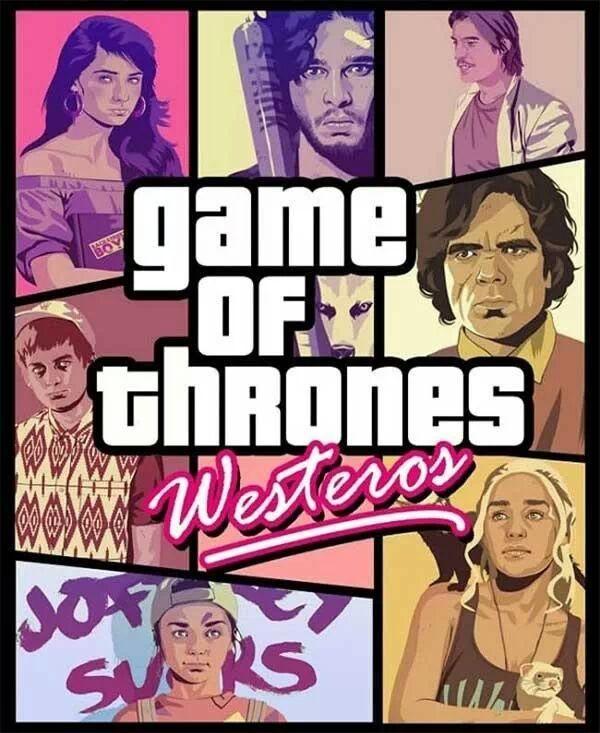 Game of thrones vs Grand theft auto GTA V 5 mashup crossover funny anime streaming online manga tv legal gratuit