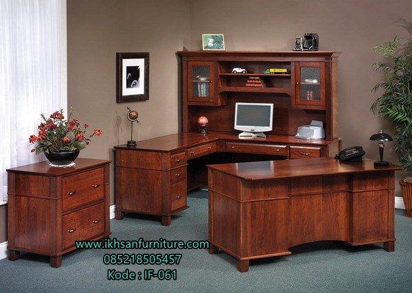 Jual Set Meja Kantor Jati Mewah Terbaru Set Meja Kantor Jati Mewah -Terbuat Dari…