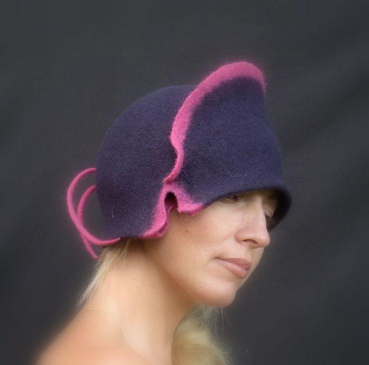 """Купить Клош """"Пенка на черничном варенье"""" из коллекции """"Ароматы - шляпа, шляпка, валяная шляпа"""