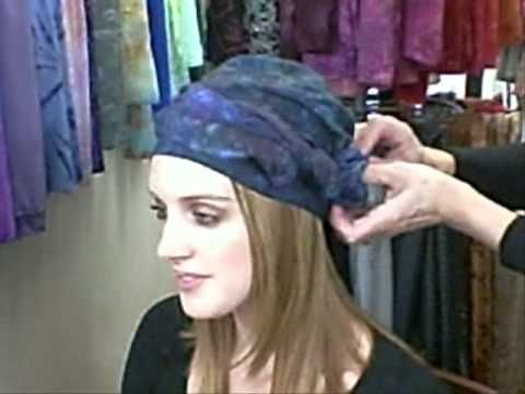 How to tie a Head Wrap Turban or Alopecia Scarf with 3 Knots.  No need to wrap the hat - it's made to fit without slipping. Simply put it on and style the scarf.