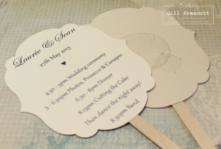 Wedding order of service fans, using labels collection framelits and the Open Sea stamp set from Stampin Up