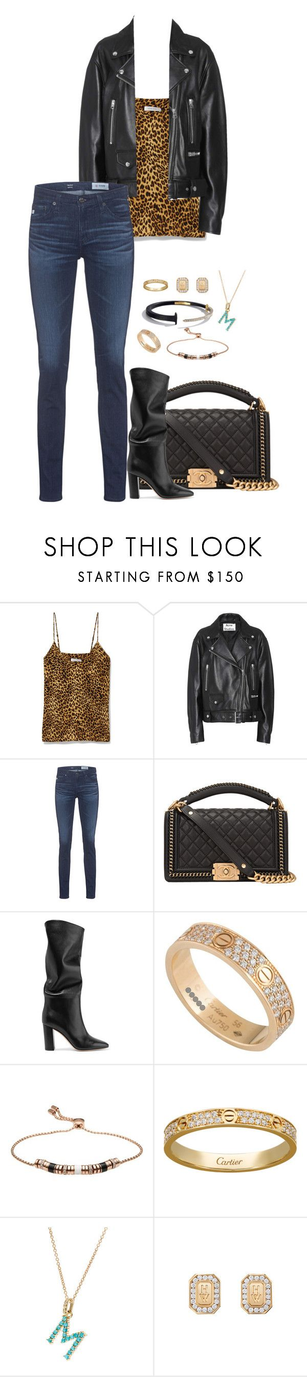 Untitled #3286 by moxfordf on Polyvore featuring Acne Studios, AG Adriano Goldschmied, Anine Bing, Gianvito Rossi, Chanel, Harry Winston, Emporio Armani, Cartier and Jennifer Meyer Jewelry