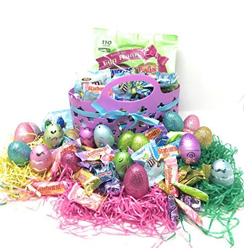 Easter Basket Gift Set: Purple Easter Basket With Ribbon Tri - Colored Easter Grass Metallic Frosted  Matte & Glittery Hollow Plastic Easter Eggs - Mars Spring Chocolates Variety Mix Candy Bars