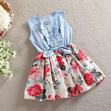 Robe+Fille+de+Fleur+Coton+Eté+Automne+Printemps+Sans+Manches+–+EUR+€+9.79