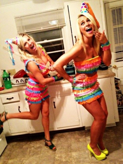 """DIY Costumes To do as group: children with party hats and bags of candy follow """"piñata"""" around"""