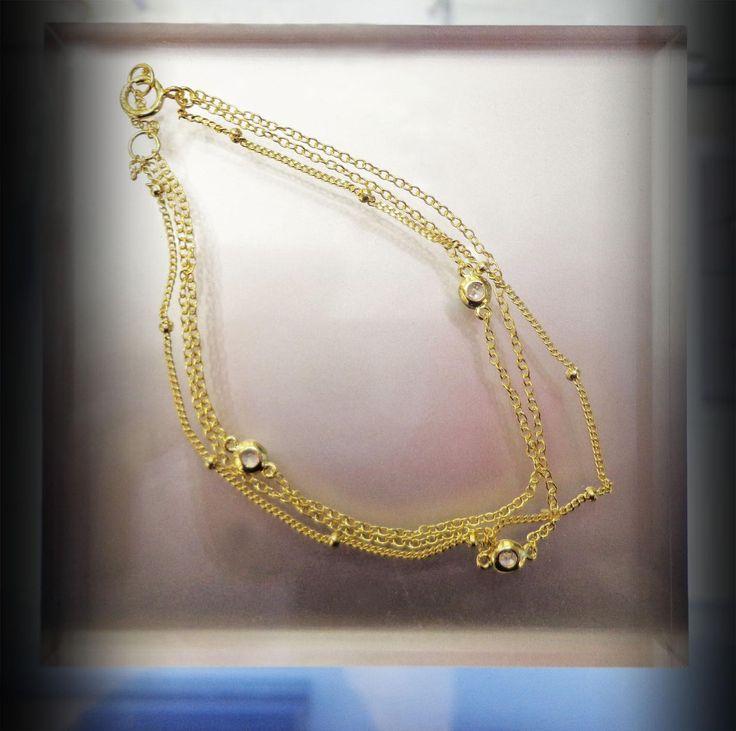Preciosa pulsera de Plata Sterling 925 con baño de Oro 18K, ideal para que luzcas hermosa!!! #joyeria #pulsera #jewelry #plata #bañodeoro