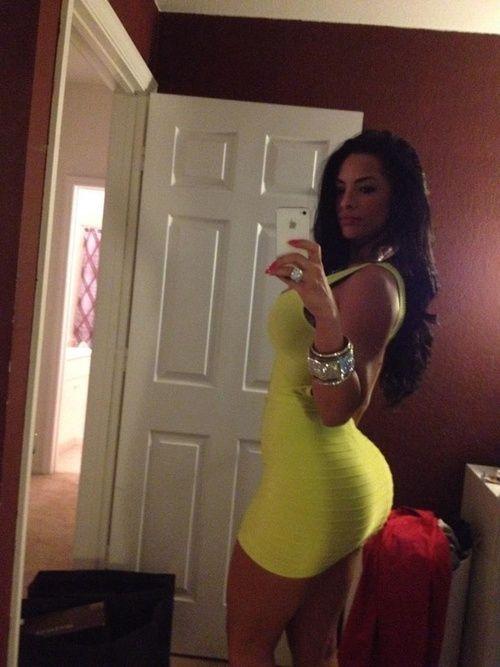 Provocative Latina Bimbo Girl In Yellow Sexy Dress Showing -5973