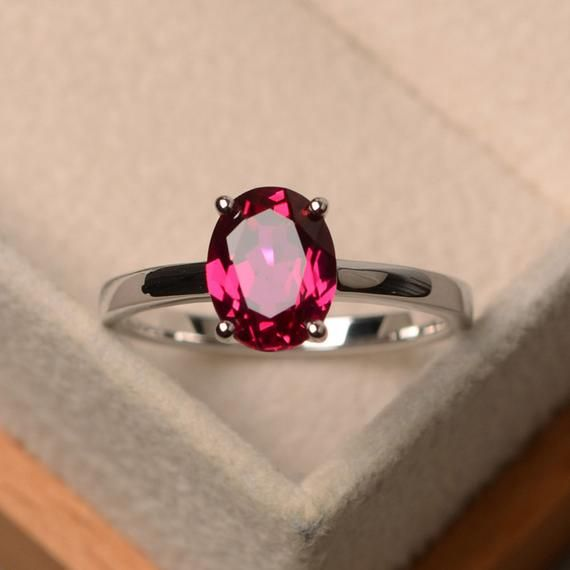 Natural Faceted Red Ruby Gemstone Ring Oval Ruby Ring July Birthstone Gift Ring Jewelry Rose Gold on Sterling Silver Handmade Ring