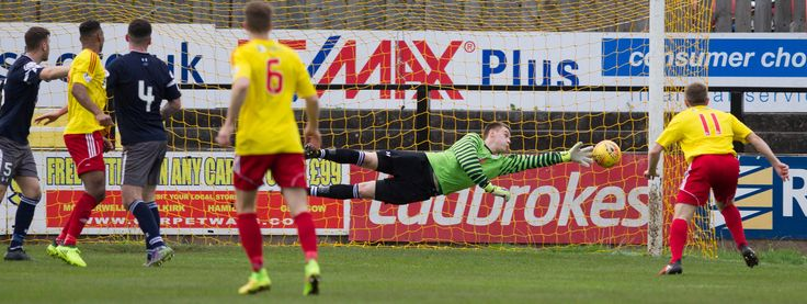 Queen's Park's Wullie Muir saves during the SPFL League One game between Albion Rovers and Queen's Park.