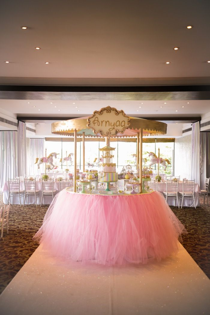 Pink tulle cakescape from a Gold & Pastel Carousel Birthday Party at Kara's…
