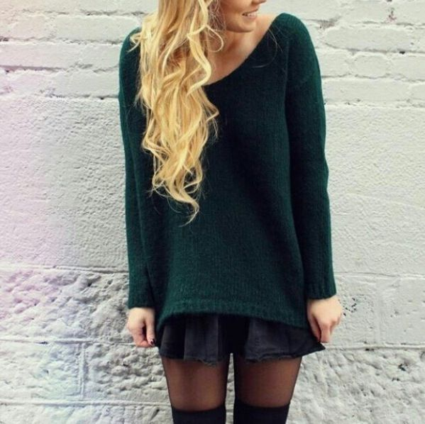green sweater. black skater skirt. tights black thigh high socks. beautiful outfit!!