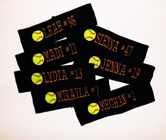 Set of 7 Softball Headbands - Softball Name and Number - Pick Headband Color and Thread Color