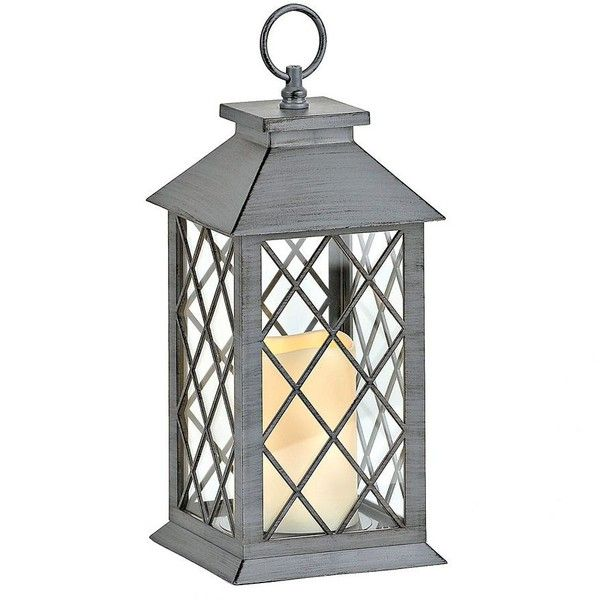 gray crisscross led lantern 15 liked on polyvore featuring home battery powered - Battery Operated Lanterns