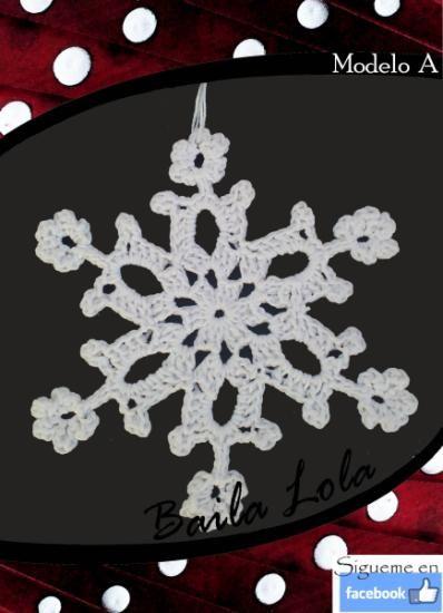 adornos de navidad- copitos de nieve hechos a crochet. copitos de nieve hechos a ganchillo
