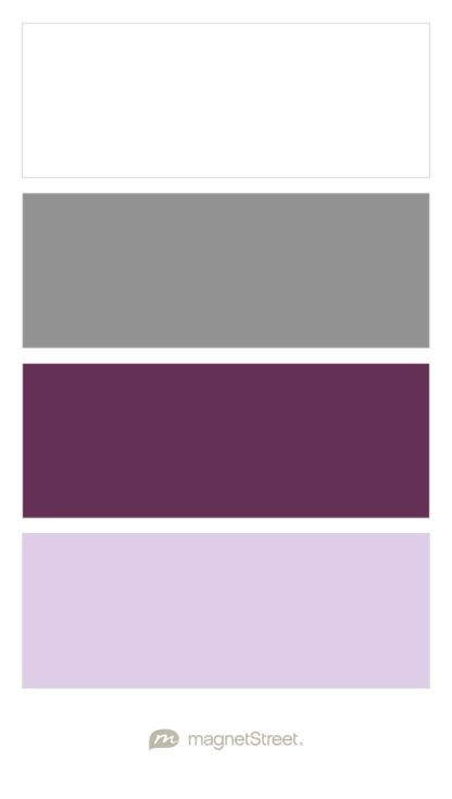 White, Classic Gray, Eggplant, and Lavender Wedding Color Palette - custom color palette created at MagnetStreet.com