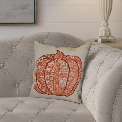 "August Grove Ames Pumpkin Patch Geometric Throw Pillow Size: 20"" H x 20"" W x 2"" D, Color: Orange"