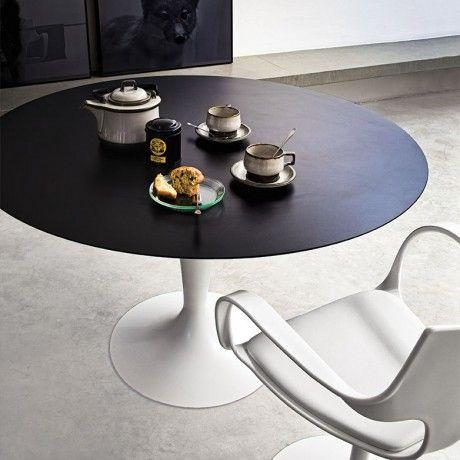 Table de salle à manger en verre ronde Flute